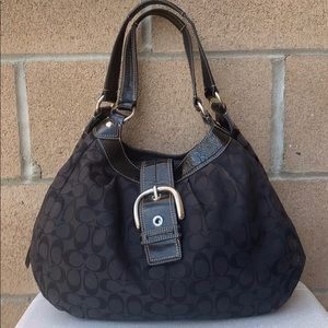 Coach Signature Lynn hobo handbag black